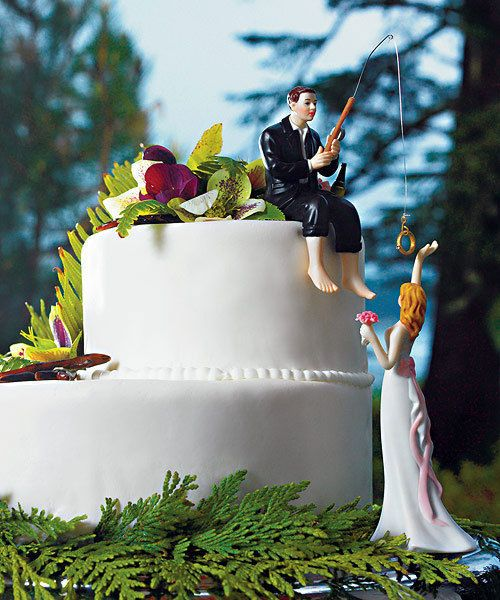 Fishing Cake Toppers Fishing Groom and Bride Funny Wedding Cake Toppers Topper $48