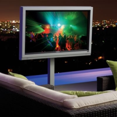 """#HolidayDecor 46-inch Outdoor HD LCD Television...in our pavilion our family would gather around with hot cocoa for the first showings of """"It's a Wonderful Life"""" and """"A Christmas Story"""". I can see it now."""