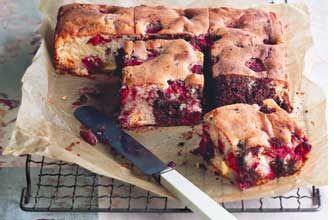 Very berry chocolate tray bake