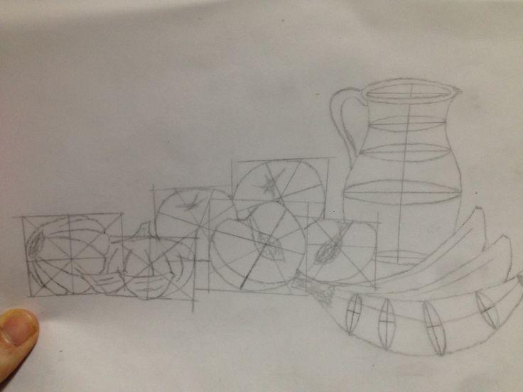 esta parte de la tarea consistía en realizar un esquema compositivo del boceto que había escogido para realizar la tarea.