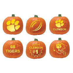 If you hurry this Clemson Tigers pumpkin carving kit could still be here in time!