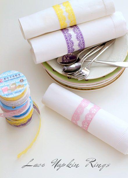 lace tape napkin rings via cafe noHut