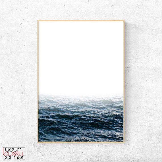Ocean Wall Art Blue Ocean Landscape Photography Nature Wall Art Scandinavian Poster Modern Minimalist Art Minimal Printable Wall Art