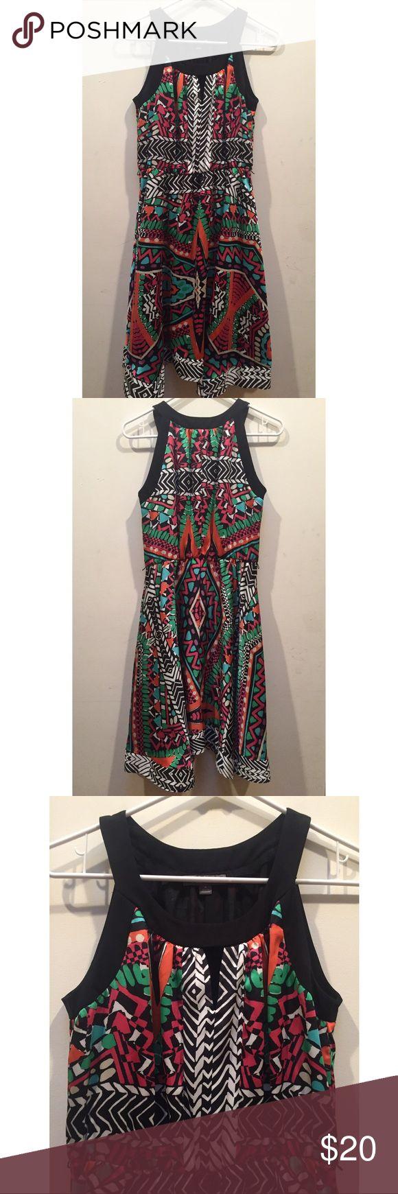 ☀️EUC Roz & Ali Colorful Tribal Geometric Dress Roz & Ali Colorful Tribal Geometric Dress in excellent used condition, size 4 Roz & Ali Dresses Midi