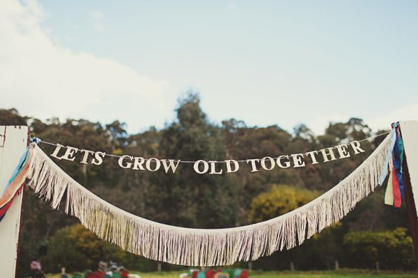 Let's grow old together banner for reception, maybe over the cake table
