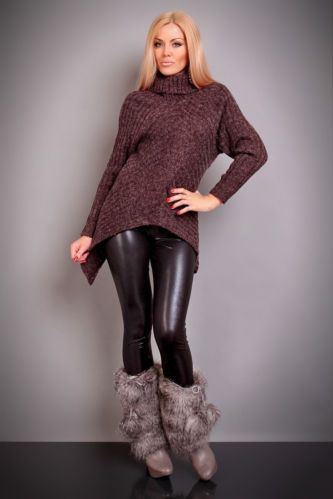 Women's Turtleneck Sweater Sz One Size Brown | eBay