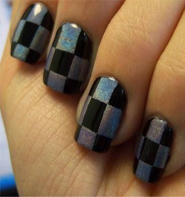 Checker board nails. ♥ this. Used to do mine like this in Jr. High