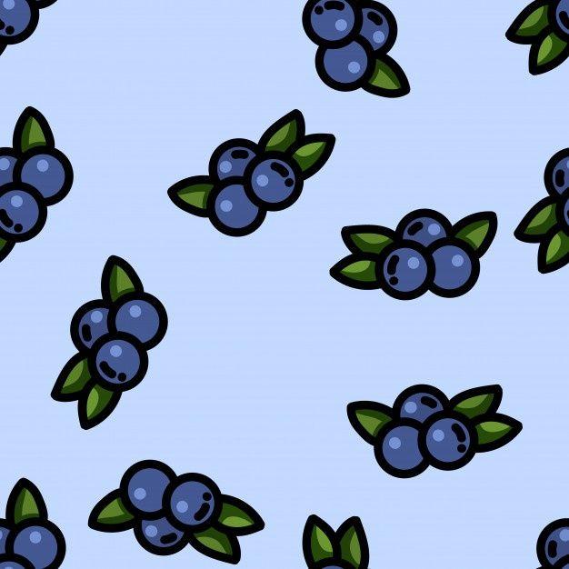 Cute Cartoon Flat Style Blueberry Seamless Pattern Butterfly Wallpaper Blue Drawings Kawaii Wallpaper