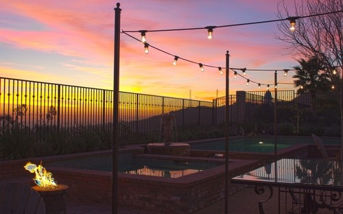 String Lights Around The Pool : Use poles around the patio or pool to hang string lights (by Studio H Landscape Architecture ...