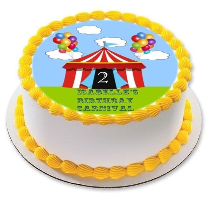 Carnival Tent Circus Personalized Birthday Edible Cake Cupcake Image Topper
