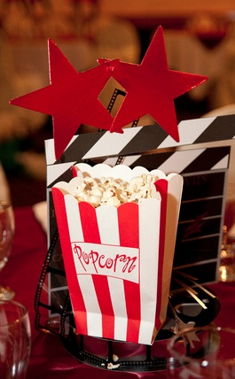 DIY hollywood themed centrepieces filled with real popcorn