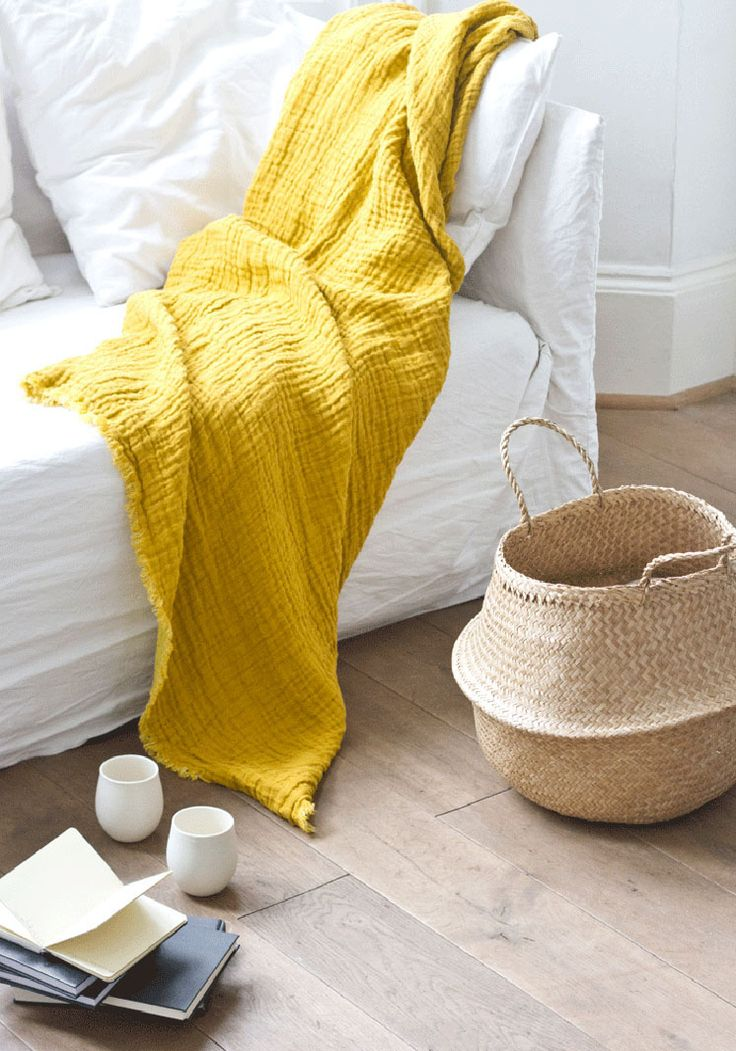 Yellow!  Boudie and Fou | Seagrass Basket & Yellow Throw | Est Magazine