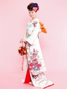 白地花筏に露芝 kimono