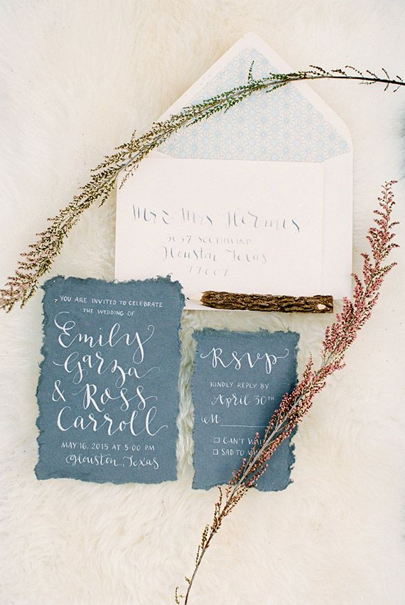 Bohemian wedding invites with calligraphy and deckled