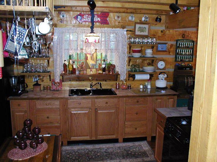 Chicken Coop Pot Rack In Vintage Log Cabin Kitchen