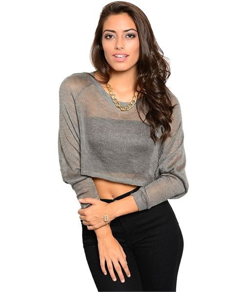 Cropped Hem Loose Fit Gray Top AUD$41.83 + Free express shipping