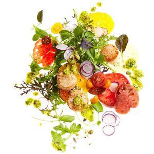 Scallop, Tomato and Orange Salad: Cherry Tomatoes, Summer Salad, Perfect Salad, Food Salad, Cut Tomatoes, Beef Salads, Scallop Tomato