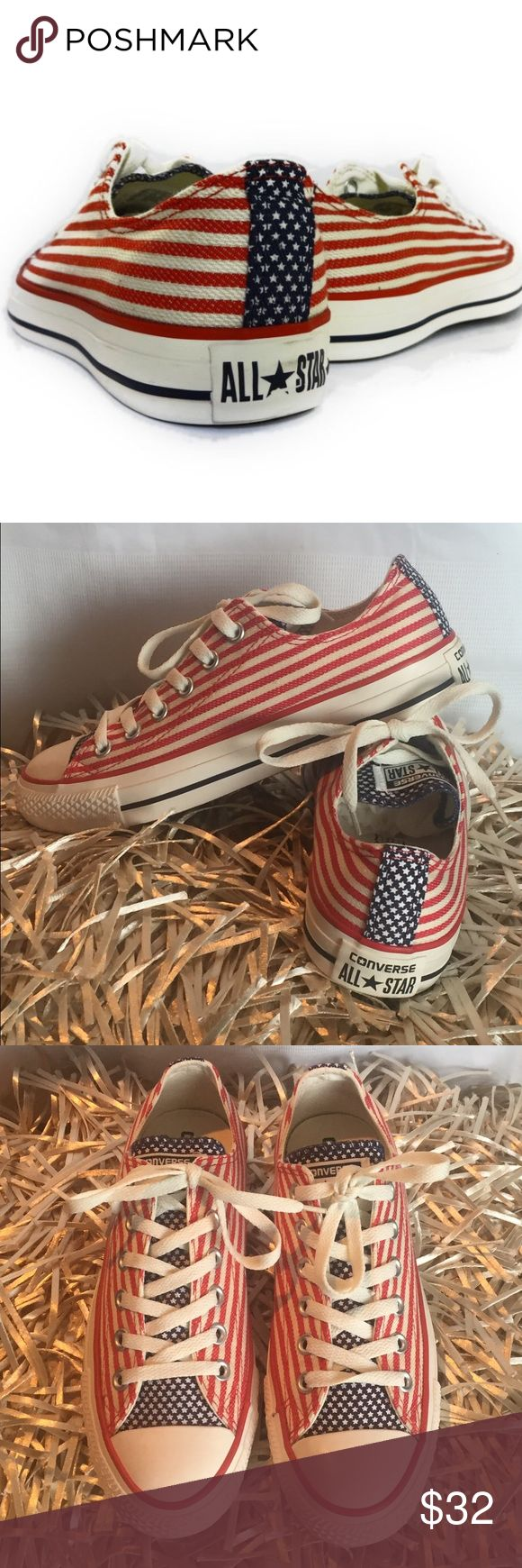Converse | PATRIOTIC RED, WHITE, & BLUE | 7.5 You are purchasing authentic Converse ALL-STAR sneakers with a patriotic flair.! This is a great way to celebrate Memorial Day, Fourth of July, Labor Day, Veterans Day or any other themed day. New with Box. For offers, click the button! SIZE 7.5 US WOMANS Converse Shoes Sneakers