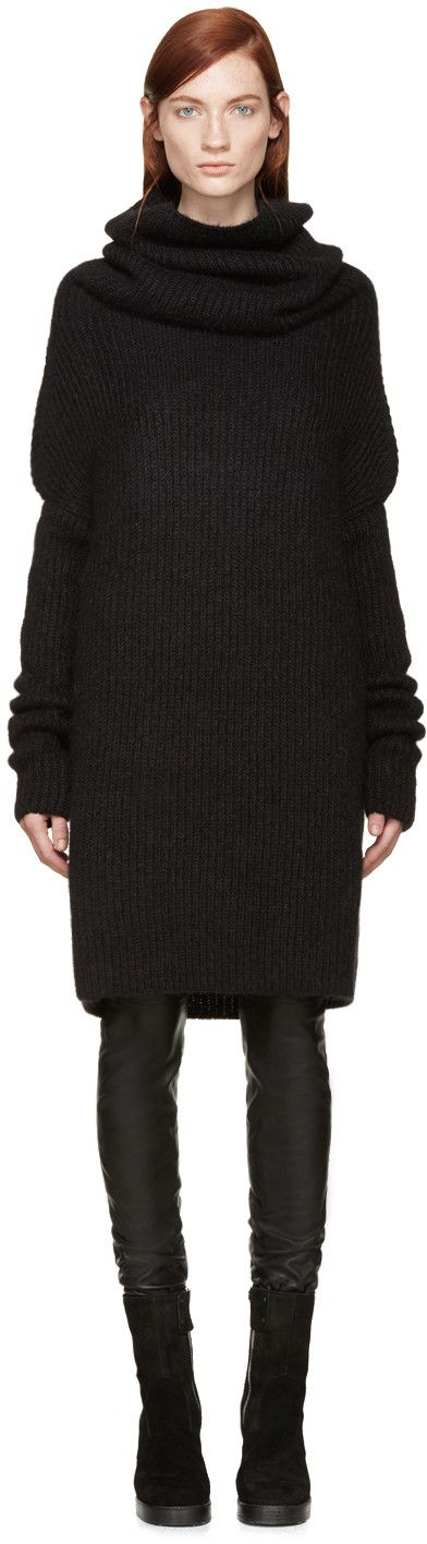 Ribbed mohair knit sweater-dress in black. Large turtleneck collar. Overlong sleeves. Dropped shoulders. Tonal stitching.: