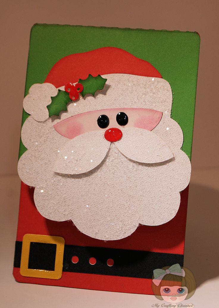 Дед мороз из бумаги для открытки