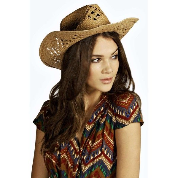 Boohoo Straw Cowboy Hat With Braid Trim ($20) ❤ liked on Polyvore
