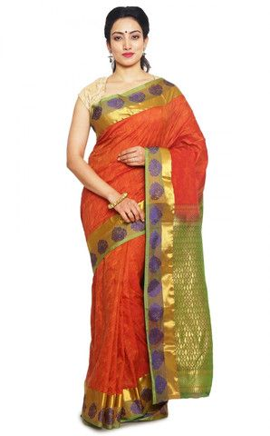 Red Kanchipuram Pure Silk Indian Sarees Online ,Veeshack.com | Fashion for the World - 1