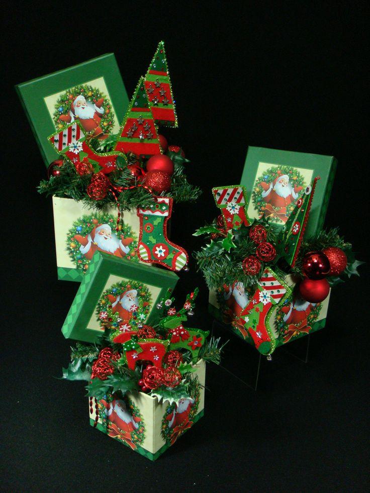 Trio de cajas decoradas verde y rojo