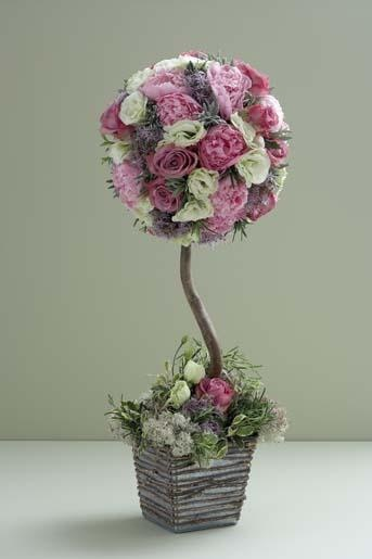 "The Flowers - Table Arrangement by Seasons Florists: ""Cool Water"", ""Gladiator Roses"", ""Sarah Bernhandt Peonies"", Lavender, Lisianthus, Moss"