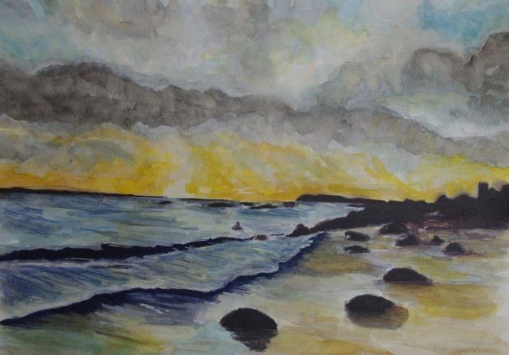 Golden Sunset, Connemara by Fiona Concannon on ArtClick.ie Irish Seascape Watercolour Art Galway
