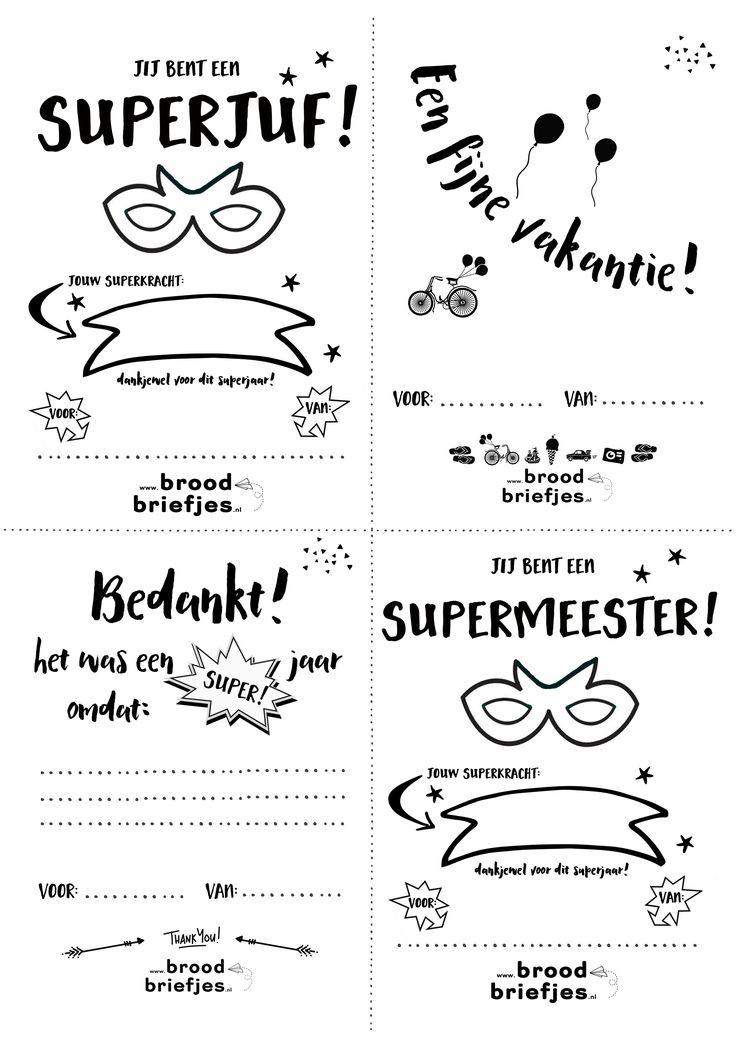 Het einde van het schooljaar komt in zicht! Tijd voor een juffen- en meestersfeest? Of als er geen feest is, tijd voor een leuk bedankje voor de meester of juf! We maakten 4 BroodBriefjes voor alle SuperJuffen en SuperMeesters! Zoek je nog inspiratie voor een leuk (zelfmaak)cadeautje? Kijk dan eens op de site van Juf Bianca. …