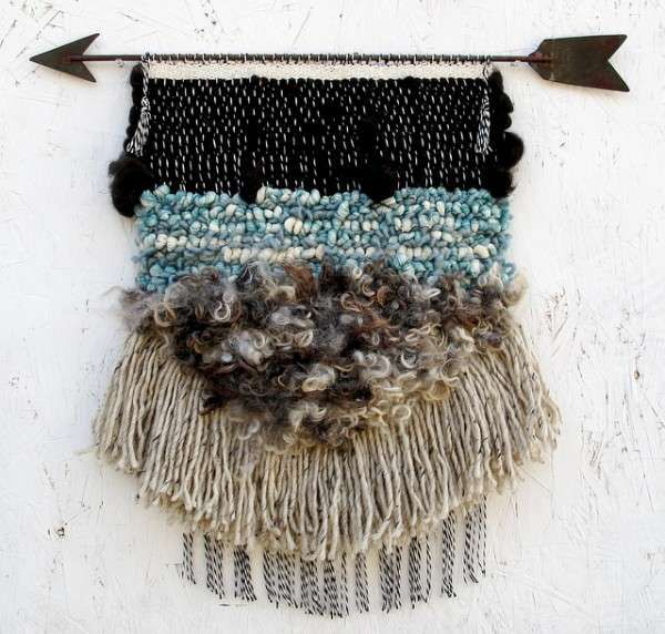 Inspired by Western Landscapes! The woven textile #art has a stunning tribal quality and #booZhee design. #allroadsdesign #macrame #wallhangings #handmade #bohemian #homedecor