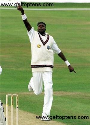 Top 10 Tallest Cricket Players, 5. Curtly Ambrose (West Indies) 6′ 7″
