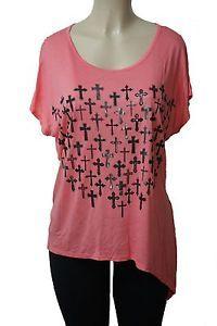 A73 New Pink Silver Foil Cross Asymmetrical Rockabilly Shirt Top Plus Size 2X