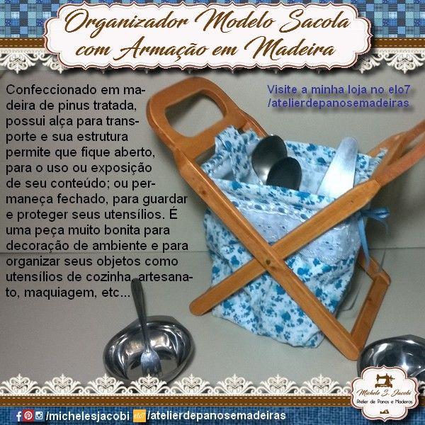 Este Organizador é uma peça muito bonita para decoração de ambiente e para organizar seus objetos como utensílios de cozinha, artesanato, maquiagem, etc.  https://www.elo7.com.br/organizador-modelo-sacola/dp/9D11A1  http://produto.mercadolivre.com.br/MLB-890027492-organizador-modelo-sacola-com-armaco-em-madeira-_JM  #michelesjacobi #marcenaria #utensiliosdomesticos #organizador #organizadormovel #meutrabalho #atelierdepanosemadeiras