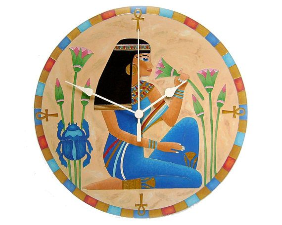 Egyptian Woman Unique Wall Clock Egyptian Symbols Ankh Cross