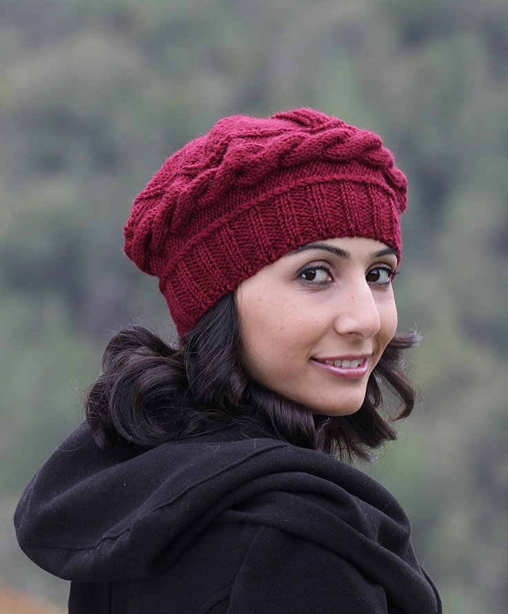 Knitting Patterns For Berets And Hats : Burgundy knit hat, Burgundy hat, Burgundy winter beret women, Burgundy hat, H...