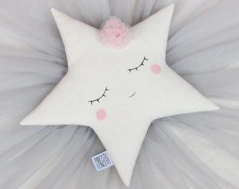Almohada de luna princesa completo  gris blanco rosado