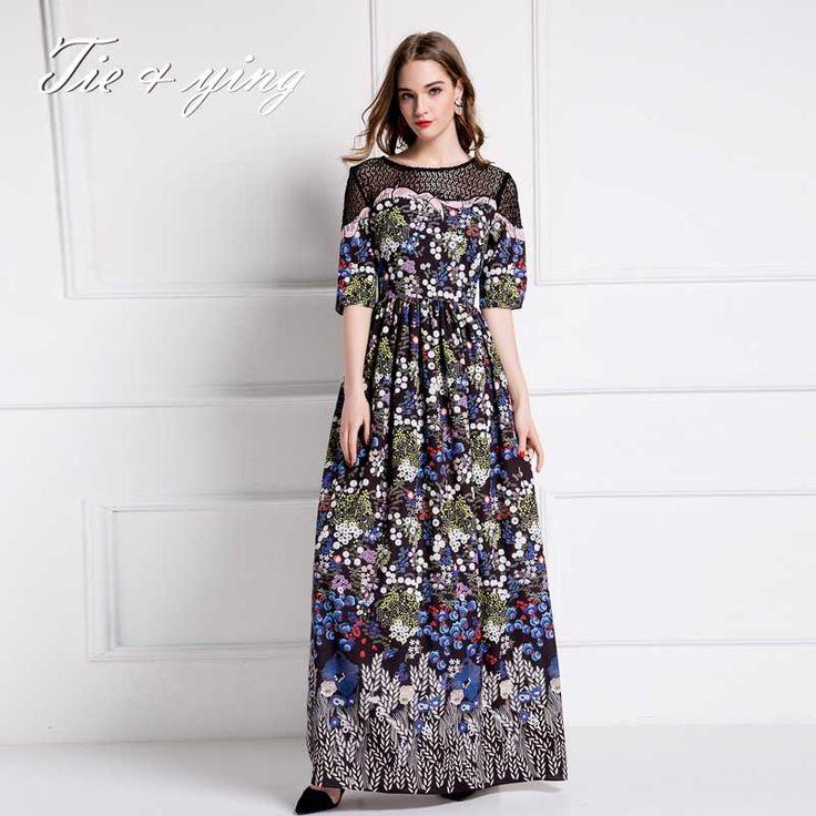 Cheap Vestidos maxis alta calidad con flores 2016 verano moda europea pista…