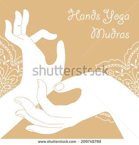 hands yoga mudras on a beige background  - stock vector