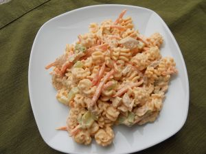 Buffalo Chicken Pasta Salad- very good but I only used 1/2 cup hot sauce. - brought by Anne M.