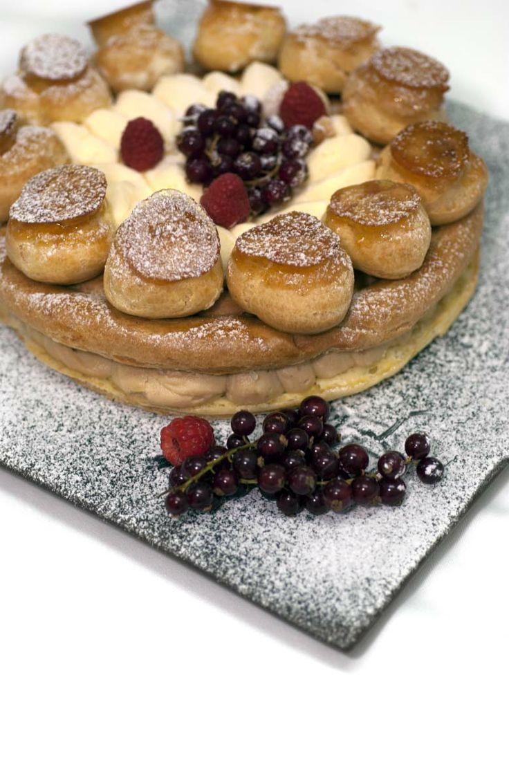 French caramelized choux puff layered with rich hazelnut and praline cream