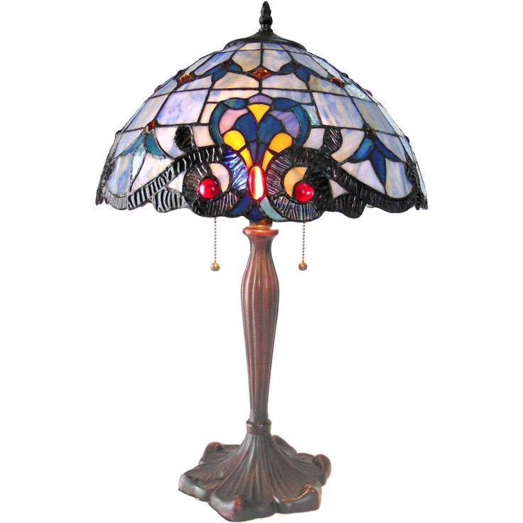 """Tiffany Style Table Lamp Stained Glass Desk 2-Light Victorian 16"""" Shade Bronze  #ChloeLighting #StainedGlass#TiffanyStyle #TableLamp"""