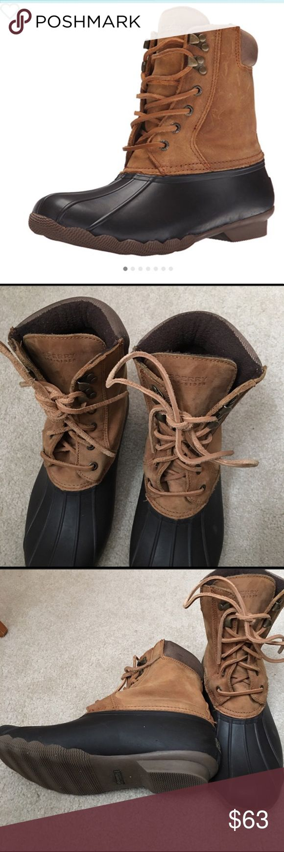 Sperry duck boots women's size 10 Super cute and in like new condition. Worn maybe 2-3 times they are just a bit big on me. Sperry Shoes Winter & Rain Boots