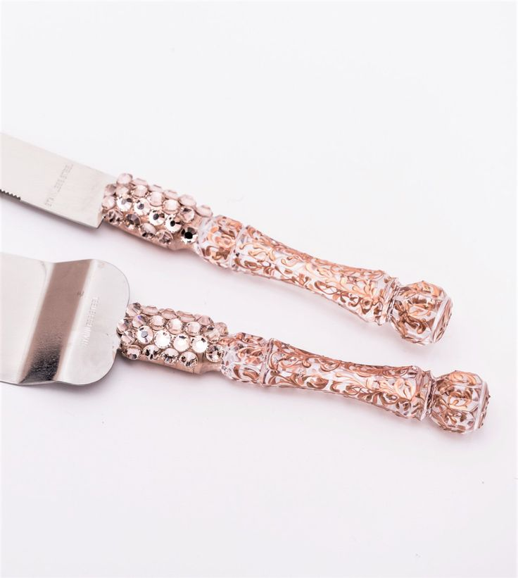 Wedding Cake Server Set Rose Gold Accessories Cutting Serving