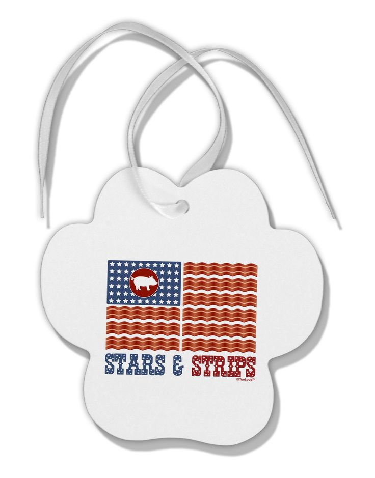 American Bacon Flag - Stars and Strips Paw Print Shaped Ornament