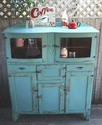 Rustic vintage Kitchen dresser hutch buffet sideboard Shabby chic antique