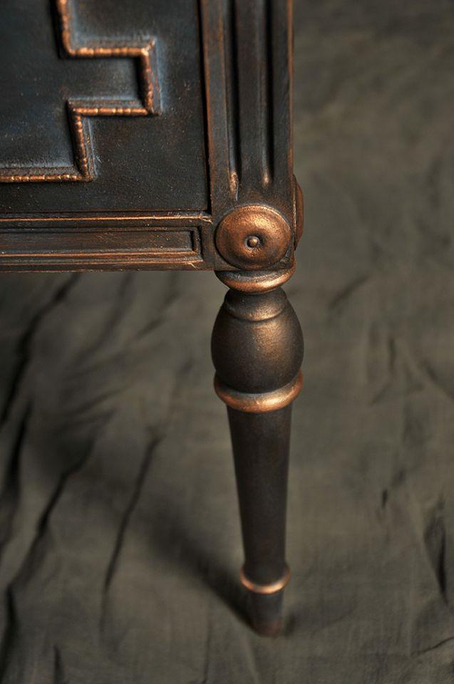(χρωματα & κερια της #Annie_Sloan .Aubusson blue, clear και black wax ανάμειξη με gliding copper)