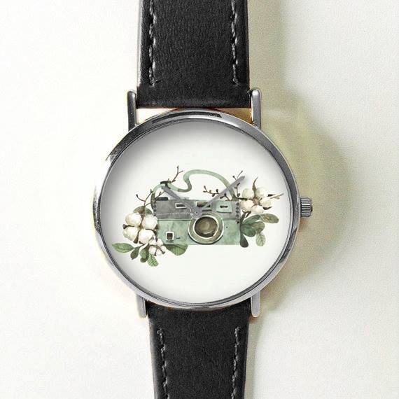 Camera Watch Watches for Men Women Leather Vintage Ladies Flowers and Twigs Jewelry Accessories Gifts Spring Fashion Personalized Unique