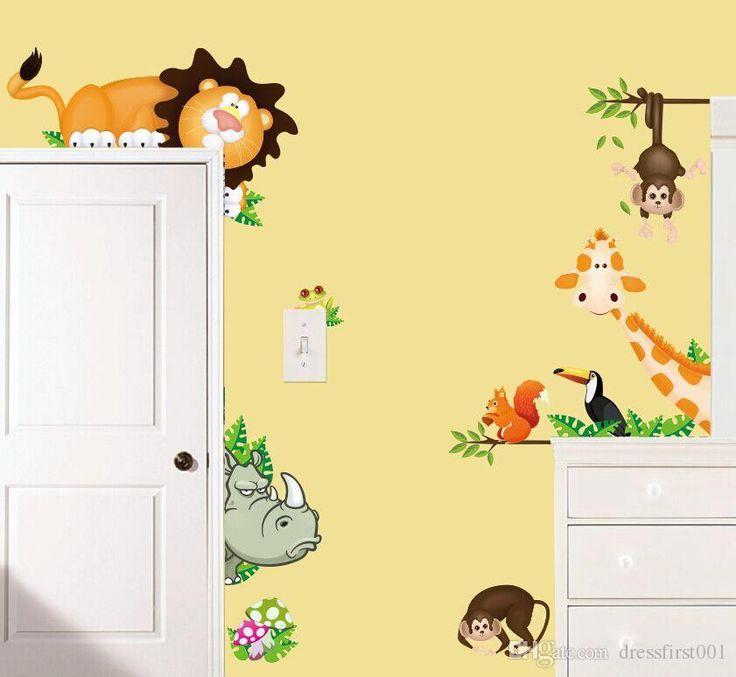 New Style Wall Stickers Girafa Macaco Berçário Modelos De Parede Quarto  Adesivos