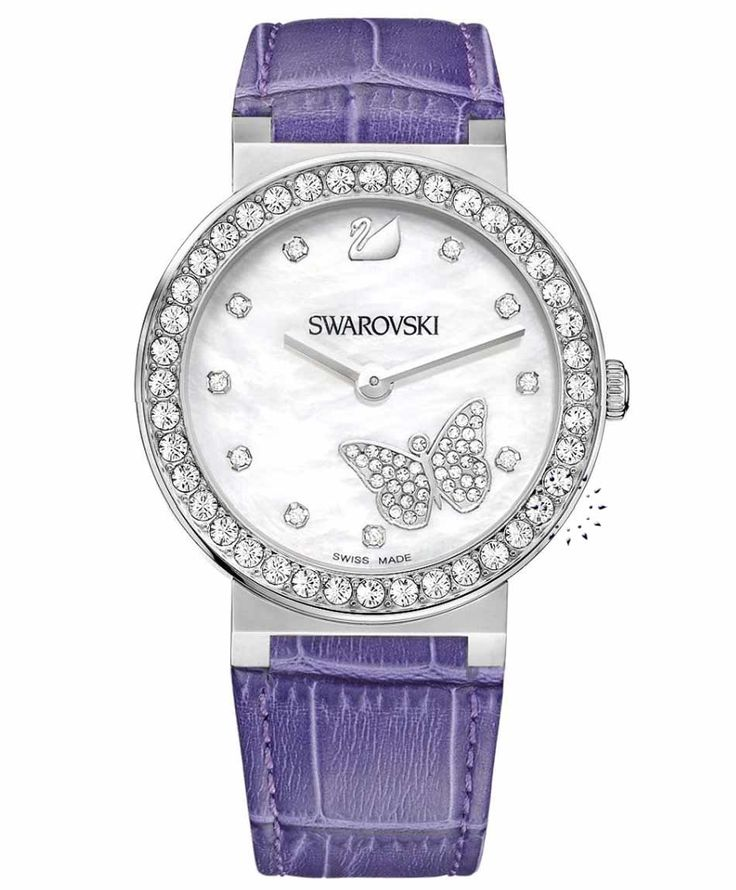 SWAROVSKI Citra Sphere Butterfly Purple Leather Strap Τιμή: 319€ http://www.oroloi.gr/product_info.php?products_id=34154
